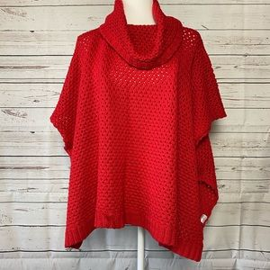 Crown & Ivy Red Poncho Sweater